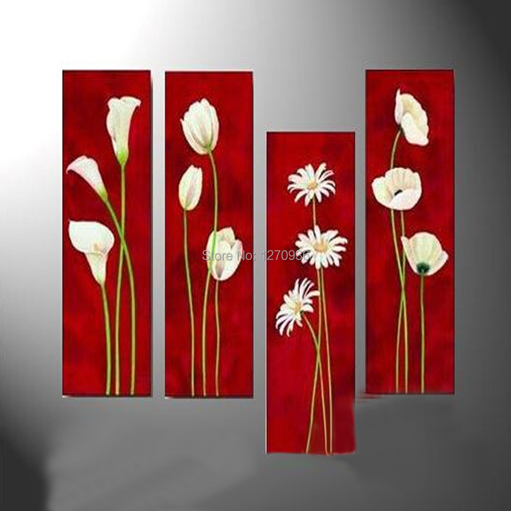 High Quality Artwork Pure Handmade White Flowers In Red Background