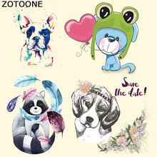 ZOTOONE Iron on Patches for Clothing Cute Animal Dog Heat Transfer DIY Stripes Custom Patch Stickers Applique T-shirt E