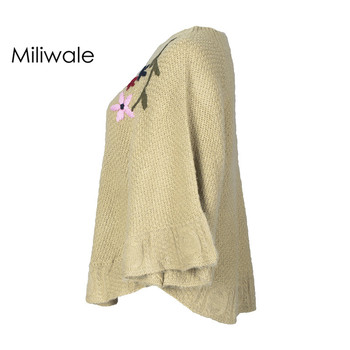 New fashion elegant winter embroidery bat wing sleeve pullover lady cloak floats solid women sweater