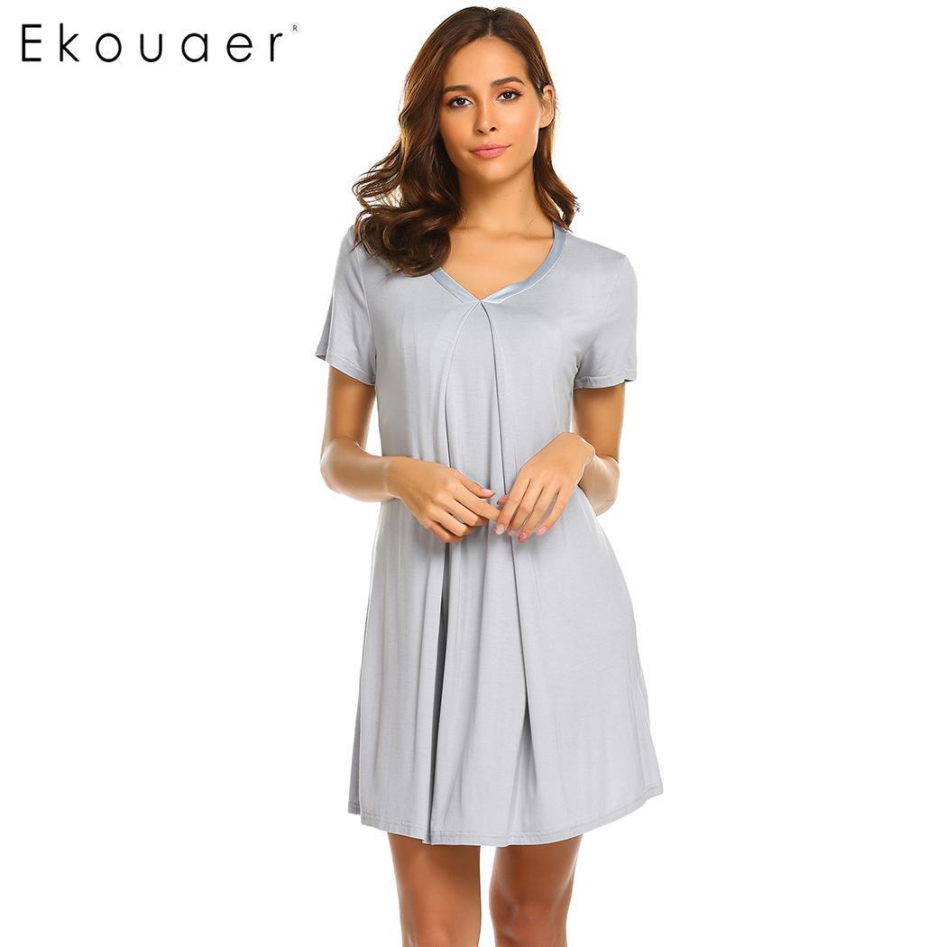 Ekouaer Women Loose Night Dress   Sleepshirts   Nursing Breastfeeding   Nightgown   V-Neck Short Sleeve Satin Trim Chemise Nightdress