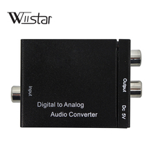 Digital Optical Coaxial Toslink Signal to Analog Audio Converter Adapter RCA Digital To Analog Audio Converter Cable Black