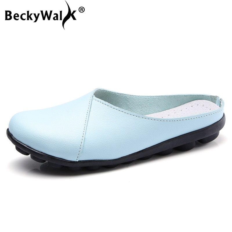 best website 86bc1 05896 BeckyWalk Neue Ankunft Sommer Frauen Schuhe Kuh Leder Flachen Sandalen  Schuhe Frau Ballerinas Hausschuhe Plus Größe 35-44 WSH2843