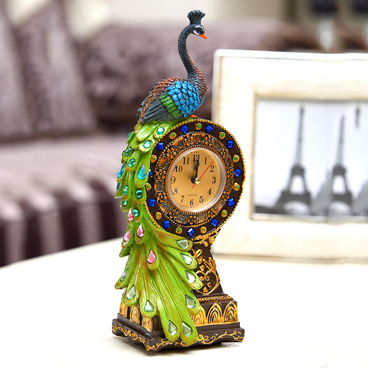 Handmade Crafts Ornament Peacock Standing Imported Resin Clock Living Room TV Cabinet Decoration