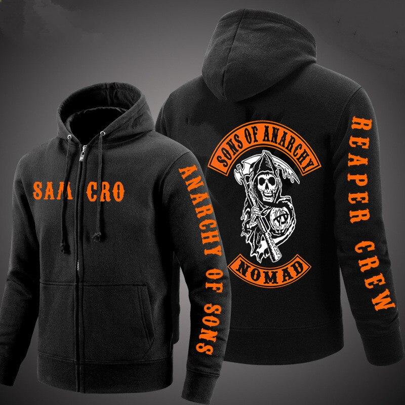 2018Mascro Casual Autumn Man Zipper Punk Coats TV Sons Of Anarchy Male Cotton Men Jacket Sweatshirt Reaper Crew Partisa Hoodies