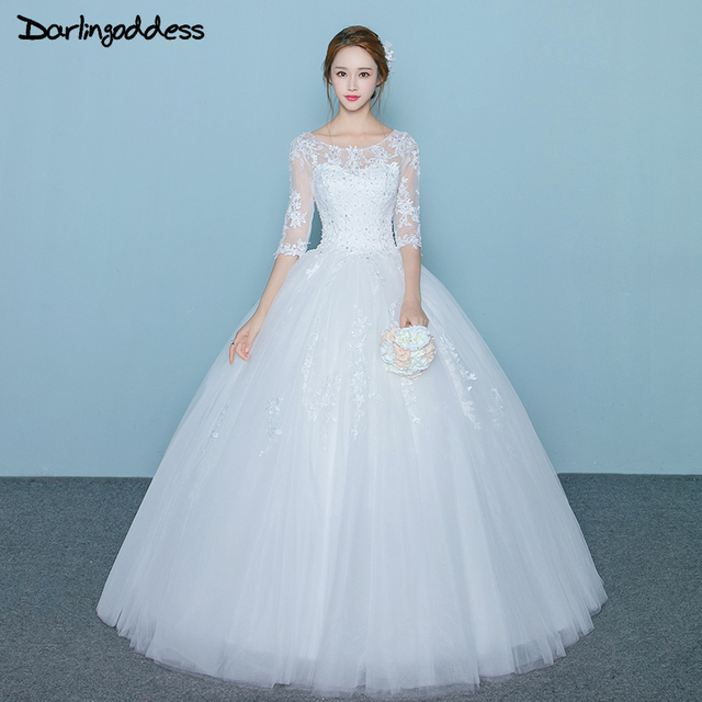 Real Picture Vintage Ball Gown Wedding Dresses Plus Size Lace Half ...