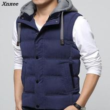 Winter Men Casual Vest Hooded Male Slim Fit Biker Waistcoat Hat Detachable Warm Windbreak Man M- 4XL 4 Colors Xnxee