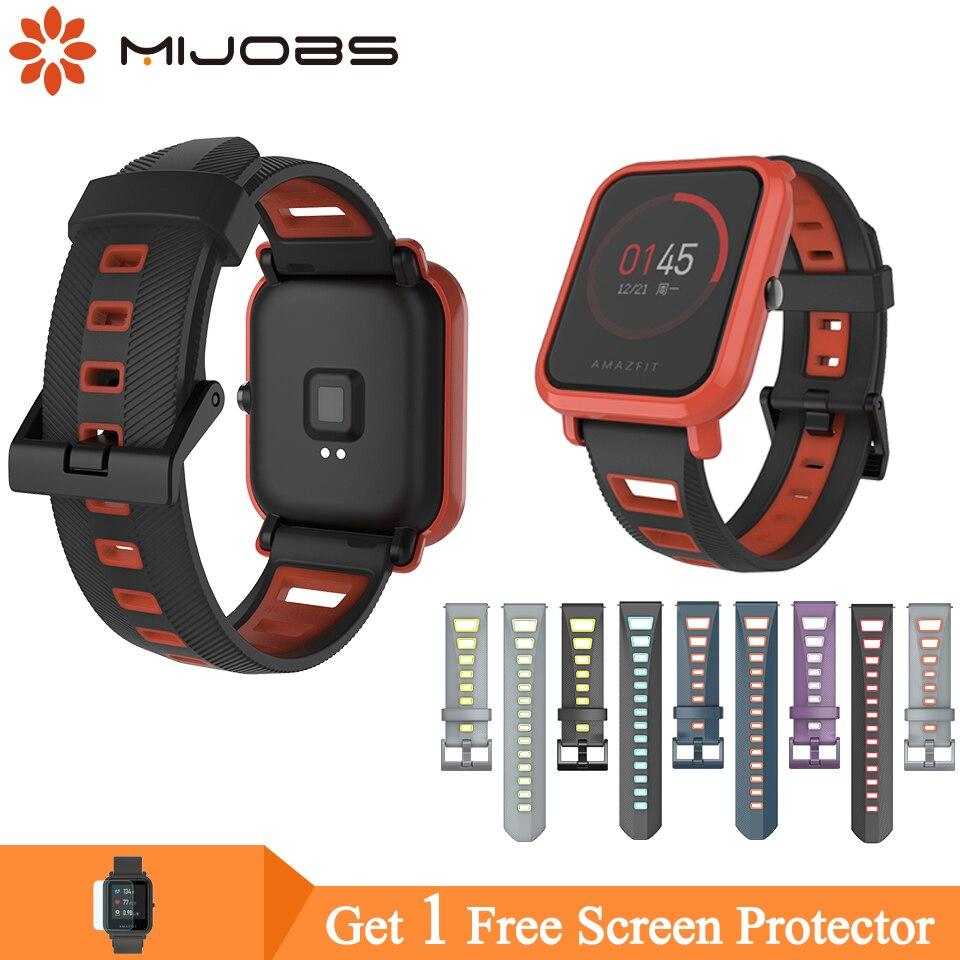 Mijobs Silicone Amazfit GTS Strap Correa Stratos 2 Smartband 20mm 22mm Soprt Bracelet For Xiaomi Huami Amazfit Bip Wristbands