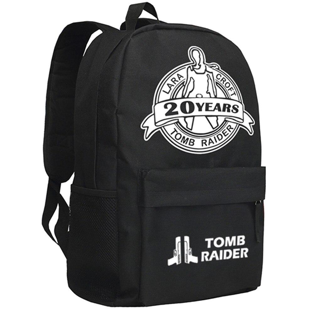 Zshop Tomb Raider Backpack Famous Movie Theme Daypack Black Oxford Shoulder Bag видеоигра для pc медиа rise of the tomb raider 20 летний юбилей