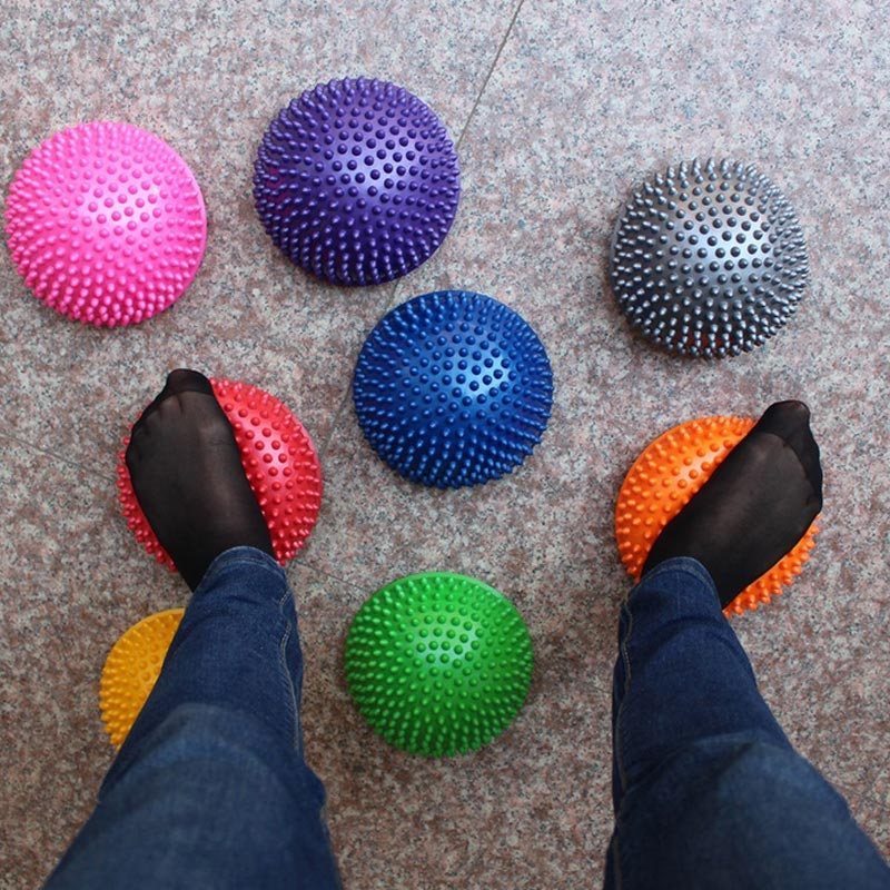 Neu Aufblasbare Halb Kugel Yoga Bälle PVC Massage Fitball Übungen Trainer Balancing Ball Für Gym Pilates Sport Fitness BN99