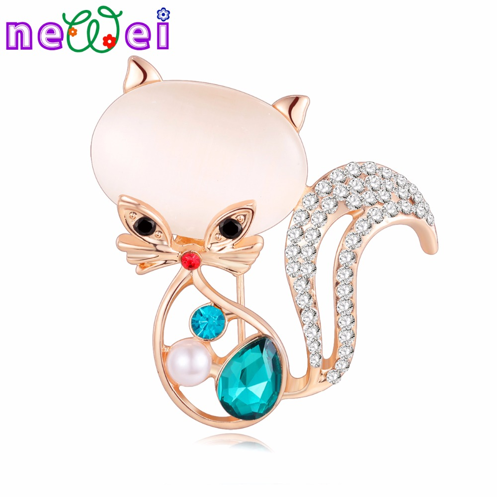 NEWEI Opal Crystal Cat Kitten Brooch For Women Brooches Pin Collar Suit Scarf Decoration Souvenir New Fashion Animal Jewelry