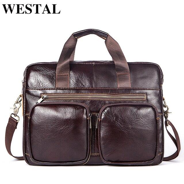 e0172161ce393 WESTAL حقيبة ساعي بريد للرجال جلدية حقيبة لابتوب للرجال جلد طبيعي حقائب كتف  عارضة Crossbody حقائب