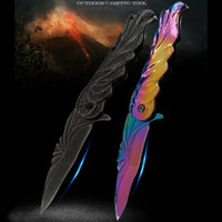1ps Pocket Tactical Folding Knife Stonewashed / Rainbow Color Titanium Stainless Steel Knife Army Survival Camping Hunting Knife|AC/DC Adapters|Consumer Electronics -