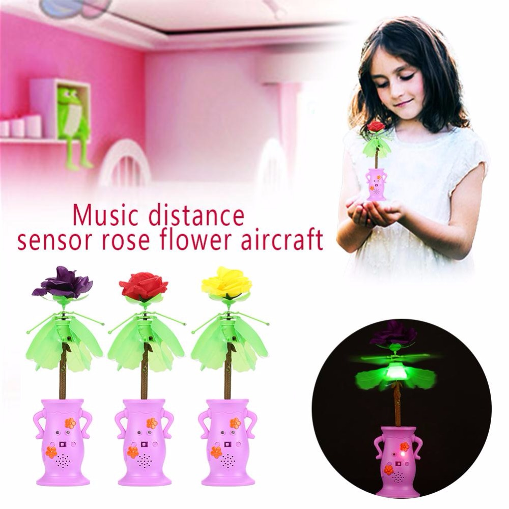 Flying Rose RC Toys For Children New Years Gift Aircraft Helicopter Led Flashing Light Up Toy Induction Toy Electric Toy Drone
