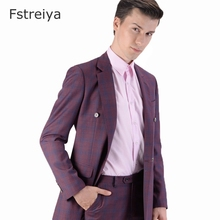 Tailor-made high quality wool Grid men suits for wedding Custom made christmas suit terno slim double breasted 2pcs
