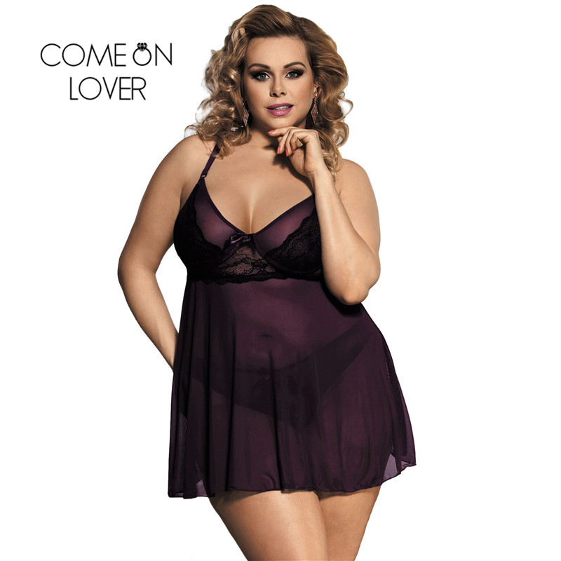 RI80274 Comeonlover Women Sexy Plus Size Lingerie Lace Exotic Apparel Pajamas Sleepwear Appealing Purple Mini Lingerie Women