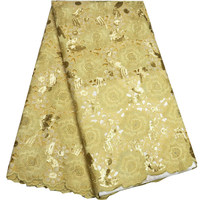 Gold Organza Lace Fabric 2017 Party African Double Organza Lace Fabric High Quality Sequined Handcut Organza Lace Fabric ST223