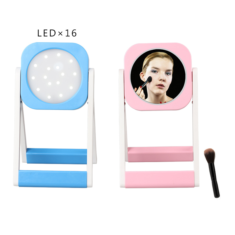 LED Light Mirrors Portable Multi-function Makeup Mirror ABS Rechargeable Cosmetic Desk Lamp Make Up Mirrors For Outdoor Explore