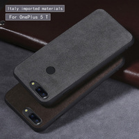 Wangcangli Genuine Leather Phone Case For Oneplus 5 5T Silicone Edge Luxury Suede Leather Utral Slim Phone cover