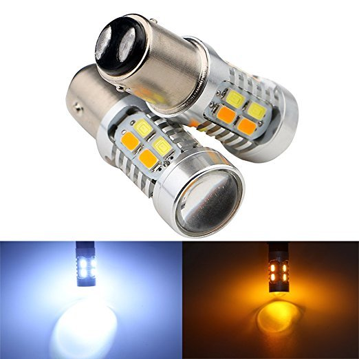 New 2pcs 1157 Dual Color Type White Amber Yellow Switchback LED 5630 20smd LED DRL Turn Signal Parking Light Bulbs