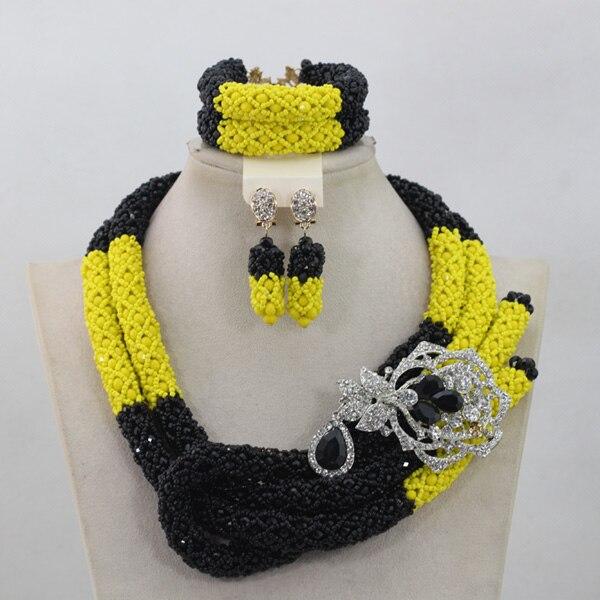 Luxury Yellow/Black African Beaded Jewelry Set Nigerian Wedding Bridal Crystal Beads Necklace Set Women Gift Free Shpping ANJ109 цена и фото