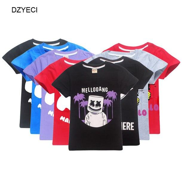 DZYECI Summer Marshmello T Shirt For Boy Girl Cloth Fornite Kid Sport Cotton Tee Children Teenage Top Costume