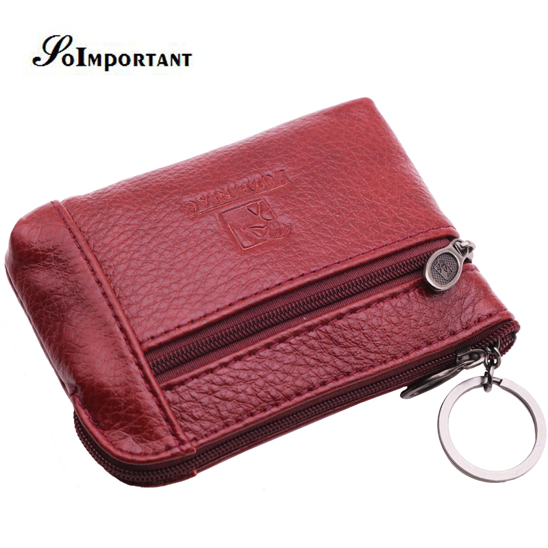 New Vintage Mini Women Wallets Female Genuine Leather Zipper Coin Purses Small Money Bags Womens Small Magic Walet With Key Ring
