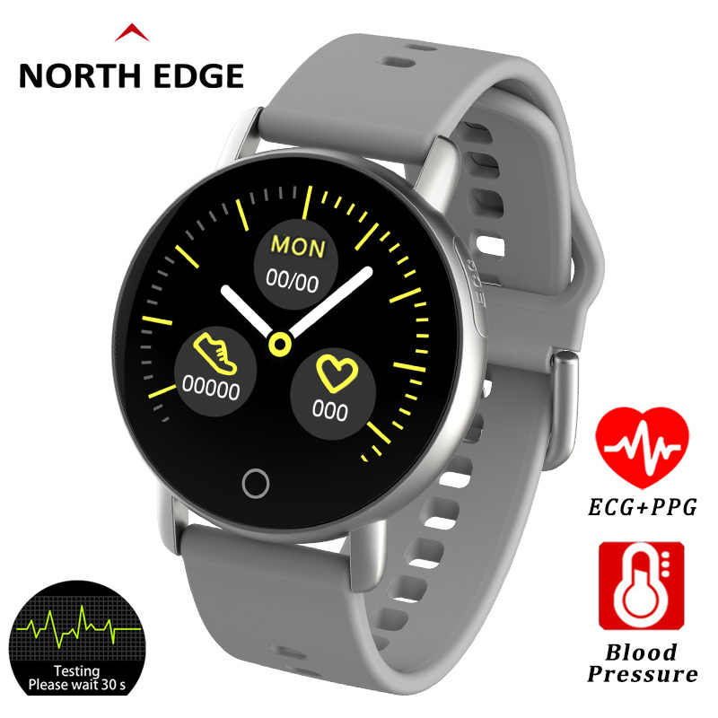 North Edge ECG PPG Heart Rate Blood Pressure Smart Watch With Color Screen Men Fitnes Tracker Oxygen Smartwatch Multi-Sport Mode