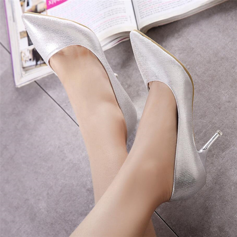 Zapatos 39 Chaussures Crossdresser Stylet Profonde Femmes 38 Mujer Bout Or Femme De Talons Plus Peu 34 Pompes Pointu argent Bouche Mariage Mince t88Iq