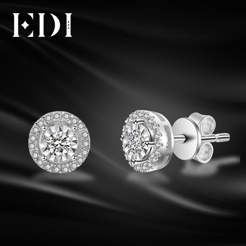 EDI Classic 0.28ttw Round Cut Natural Diamond Soild 14k White Gold Wedding Earrings For Women Fine Jewelry