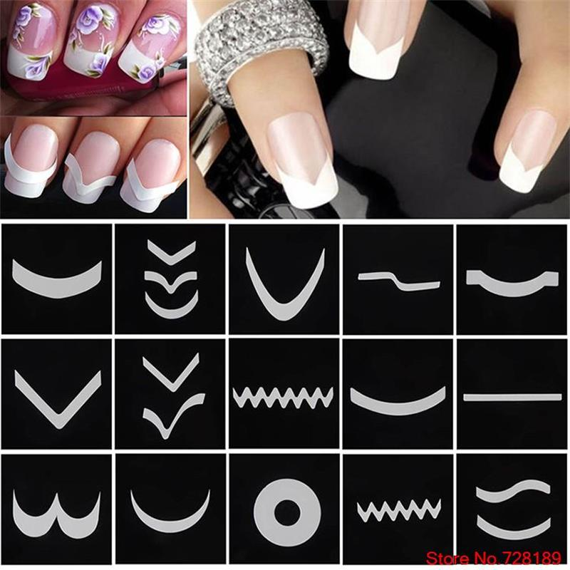 24pcs/set Nail Art Guide Tips Hollow Stencils Sticker French Manicure Template 3D Decals Form Styling Tool Free Shipping 10pcs women nail print template nail decoration stainless steel diy manicure printing nail template nail art