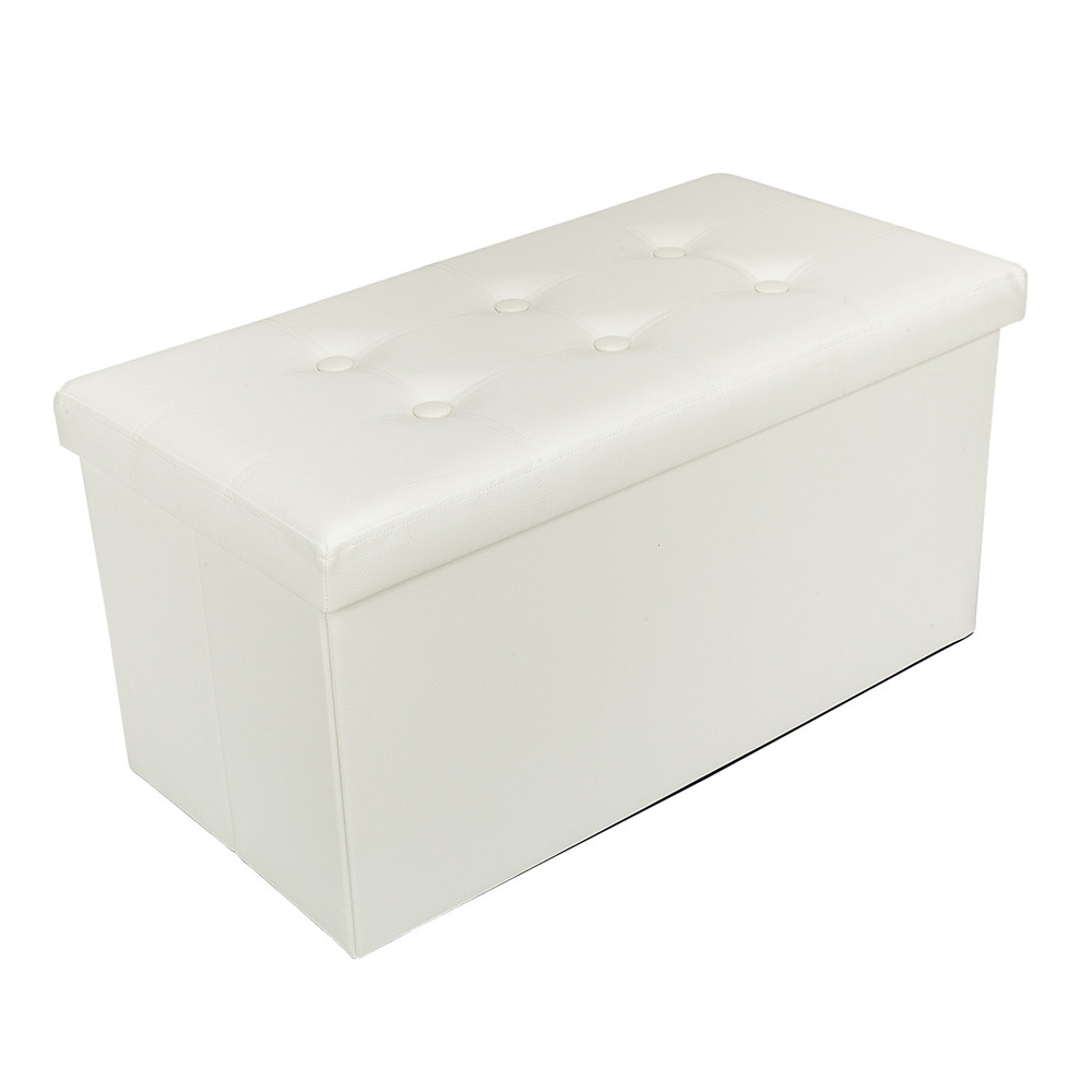 PVC Leather Rectangle Shape with Leather Button Footstool Bedroom Ottomans Bench Foot Rest Stool Padded Seat Storage - US Stock
