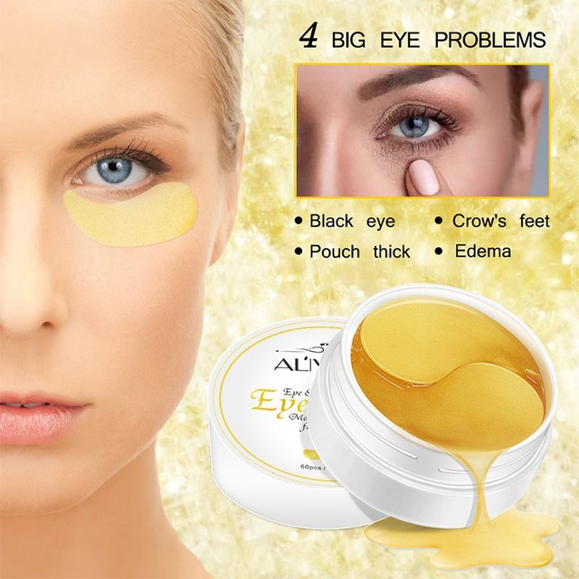 60 piezas 24 K oro cristal colágeno máscara de ojo parches para Anti-arrugas quitar máscaras de ojo cuidado de los ojos