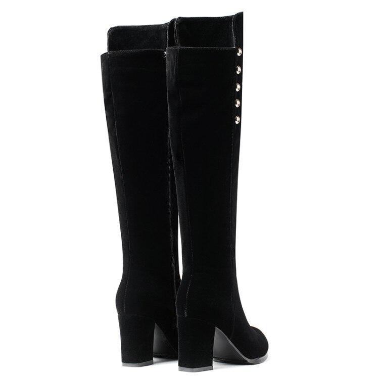 Por {zorssar} De La Nuevo Cuadrada Cuero Cómodas Zapatos Mujer Invierno Alto Tacón Negro Botas Rebaño Nieve Encima Mujeres 2019 Las Rodilla xrztz50