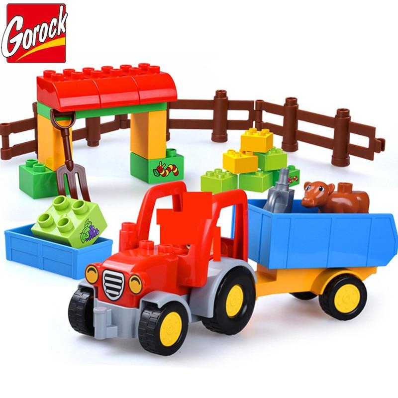 Happy Farm Building Blocks Sets Truck Car Friends Figures Animal LegoINGs Playmobil Juguetes Duplo DIY Bricks Toys For Children