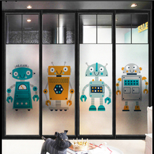 Window Glass stickers Kindergarten glass cartoon robot personality frosted window film