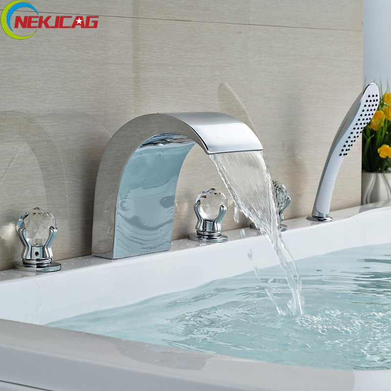 Luxury Widespread 5pcs Waterfall Bathtub Mixer Faucet Deck Mount Tub Filler Chrome Brass Handheld Shower