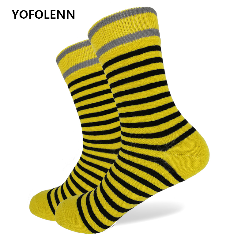 High Quality Combed Cotton Stripe Socks for Men 2018 New Arrival Fancy Women Colorful Long  Yellow Stripe Cool Crew Dress Socks