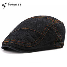 abd2c935086 Fibonacci 2018 New Patchwork Newsboy Cap Washed Denim Cotton Retro Men Hats  Spring Autumn Ivy Flatcap Berets