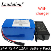 Laudation 7S4P 24 V 12Ah 29.4V12000AH 18650 Li ion battery pack with 15A BMS electric bicycle electric motorcycle light bicycle