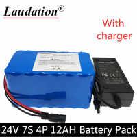 Laudation 7S4P 24 V 12Ah 29.4V12000AH 18650 Li ionen akku mit 15A BMS elektrische fahrrad elektrische motorrad licht fahrrad