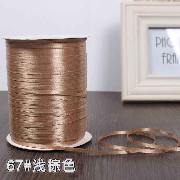3 мм ширина бордовые атласные ленты 22 метра швейная ткань подарочная упаковка «сделай сам» ленты для свадебного украшения - Цвет: Light Brown