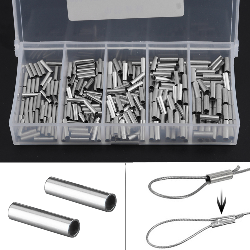 500pcs//lot Stainless Steel Copper Fishing Line Crimping Sleeves Tube Connector