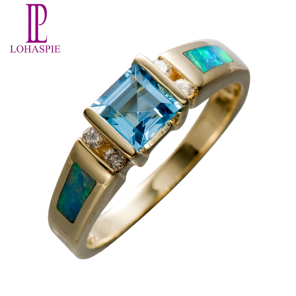 Lohaspie Natural Sky Blue Topaz & Diamond & Opal Solid 14K Yellow Gold Wedding Band Rings Vintage Fine Jewelry For Women Gift