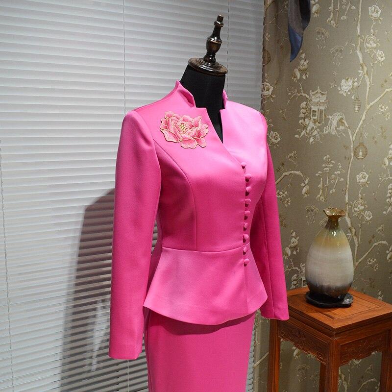 De Vêtements Office Broderie Rose Gamme Jupes Jupe Designers Formelle Tops Red Lady Femmes Chinois 2 Et Des Ensemble Style Costume Pièces Haut nfwqETYH