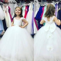 New White Flower Girls Dresses Puffy Tulle Back Cover Bow First Communion Dresses Girls Pageant Gown Custom Made High Quality
