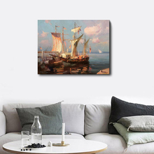 Laeacco Canvas Calligraphy Painting Sailboat Posters and Prints Wall Artwork Picture for Living Room Home Decoration