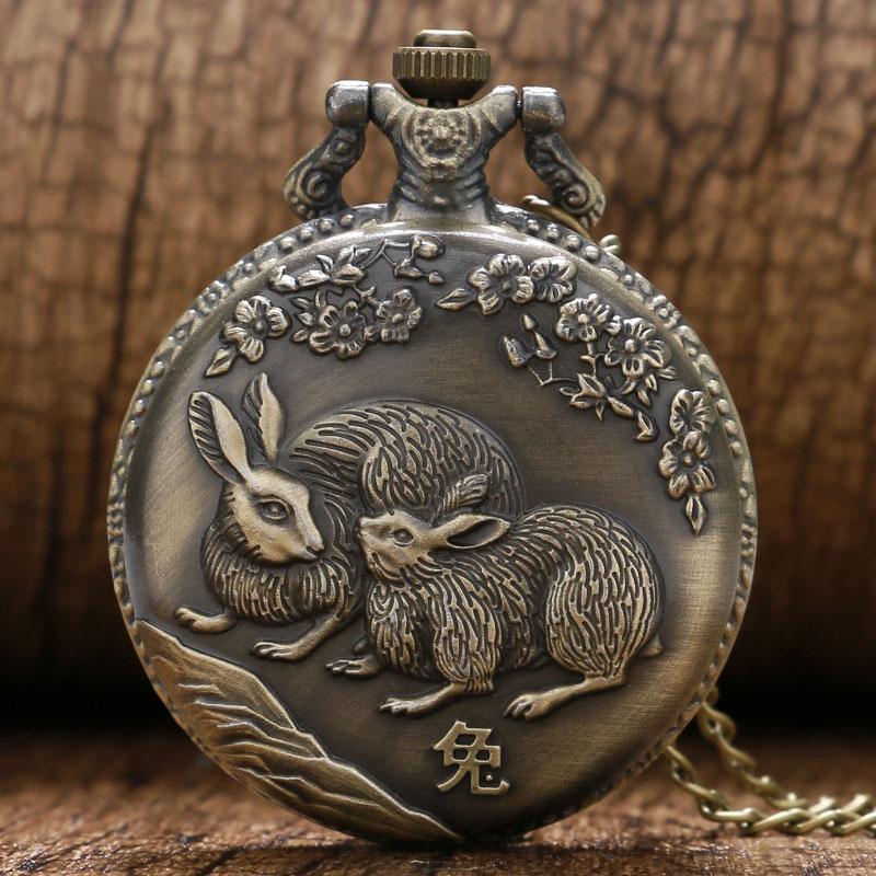 Pocket Watch Men Women Fob Pendant Chain Bronze Cute Rabbit Pattern Design Quartz Watches Gift Relogio De Bolso New Arrival