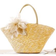 2018 Summer Large Beach Bags Straw Woven Holiday Shoulder Bags Women Handmade Flower Pom Pom Handbags Trapeze Travel Bag pom pom decor plaid shoulder bag