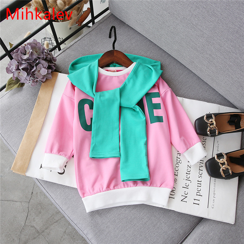 Mihkalev Fashion kids clothes girls spring clothing Litter girl Long-Length t shirt for children long sleeve tshirt and tops