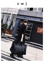Роскошные Для женщин кожаный чемодан тележка Сумки на колёсиках дорожная сумка для переноски на колеса 16 дюймов